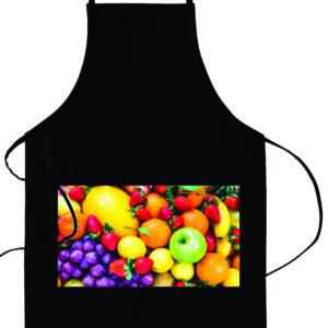 black apron with white pocket