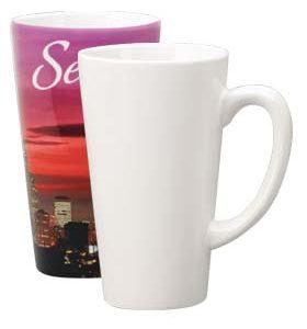 white sublimation funnel mug