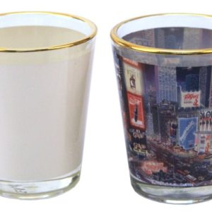 sublimation shot glass with white patch