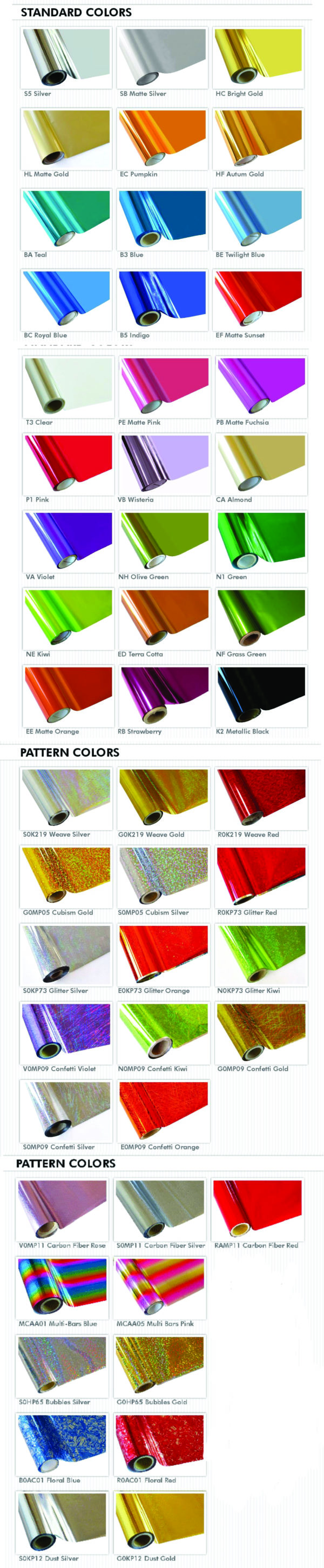 foil colors for textile inks and laser transfers