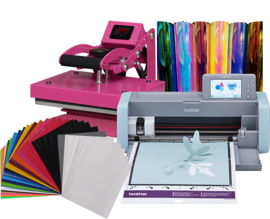 Craft Vinyl Cutter Bundle And Heat Press And Supplies