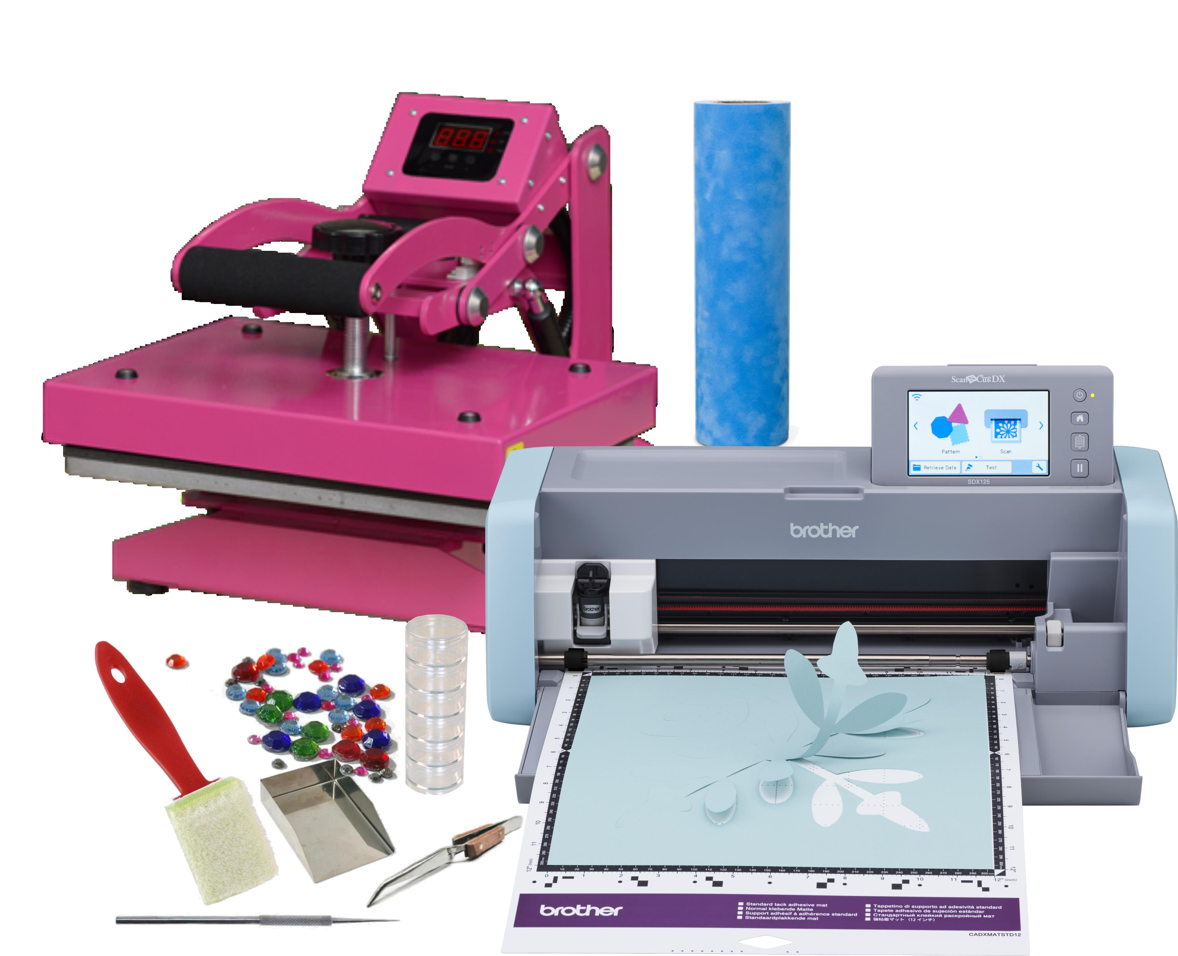 Craft Cutter Heat Press And Rhinestone Bundle And Supplies